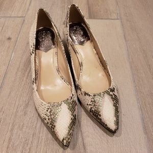 Vince Camuto snake print leather kitten heels